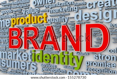 3d Illustration of words tags of brand wordcloud - stock photo