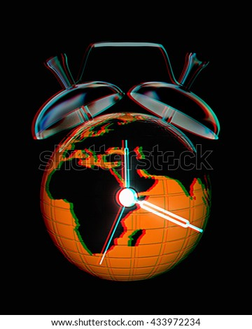 3d illustration of world alarm clock on a black background. 3D illustration. Anaglyph. View with red/cyan glasses to see in 3D. - stock photo
