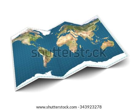 3d illustration of world map over white background - stock photo