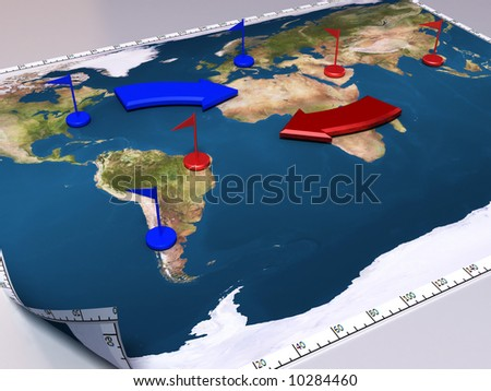 3d illustration world map flags arrows stock illustration 10284460 3d illustration of world map with flags and arrows war game gumiabroncs Choice Image