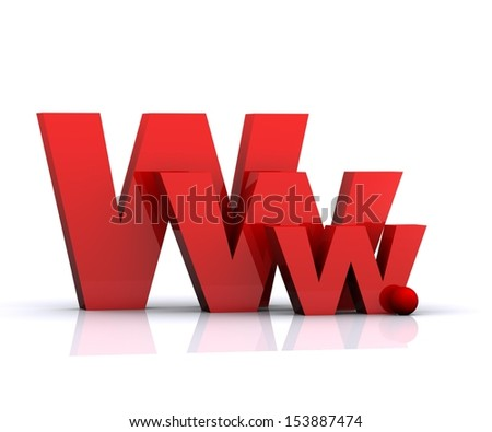 3D illustration of WWW-internet sign - stock photo