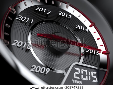 3d illustration of 2015 year car speedometer. Countdown concept  - stock photo