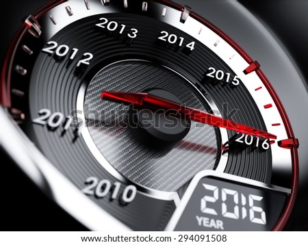 3d illustration of 2016 year car speedometer. Countdown concept - stock photo