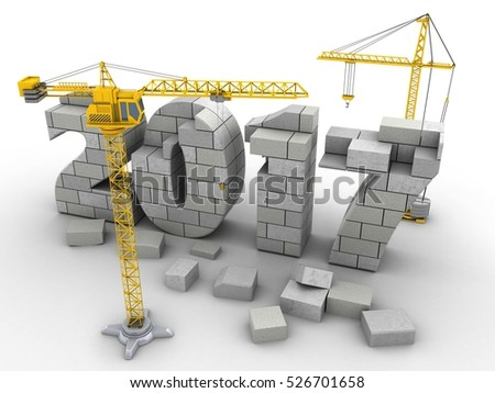 3d illustration of 2017 year construction over white background with crane
