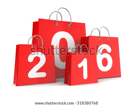 3d illustration of 2016 year shopping bags, over white background - stock photo