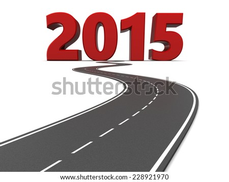 3d illustration of 2015 year sign and asphalt road - stock photo