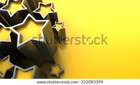 3d illustration of yellow background with stars - stock photo