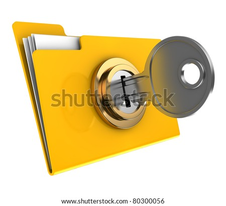 3d illustration of yellow folder locked with key,isolated over white