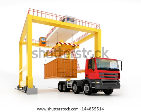 3d illustration of yellow gantry crane with container and truck isolated on white - stock photo