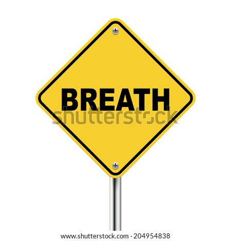 3d illustration of yellow road sign of breath isolated on white background