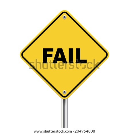 3d illustration of yellow road sign of fail isolated on white background - stock photo