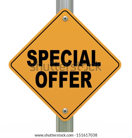 3d illustration of yellow roadsign of special offer - stock photo
