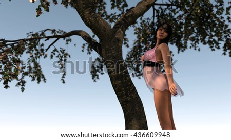 3d illustration of young asian woman posing under blooming tree - stock photo