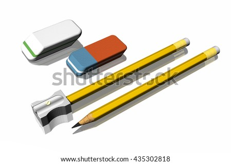 3D illustration. Office supplies: pencils, Pencil Sharpener, Eraser.