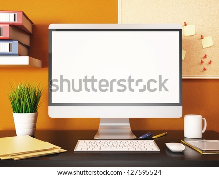 3D illustration office with blank computer screen. Mockup - stock photo