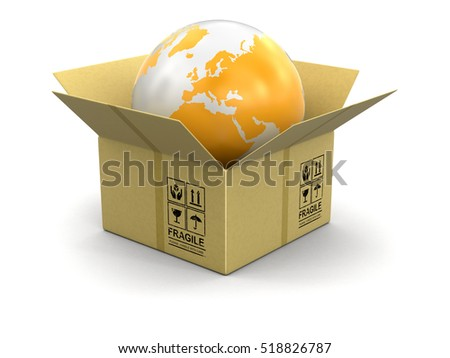 3D Illustration. Open package with Globe. Image with clipping path Elements of this image furnished by NASA