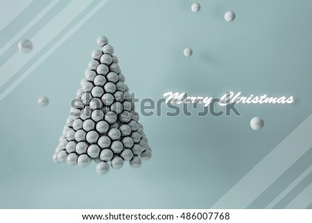 3D illustration - Pearls Christmas tree with text