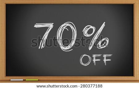 3d illustration. 70 percent off written on blackboard. Sale concept - stock photo