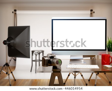 3D illustration photography studio with blank screen. Mockup - stock photo