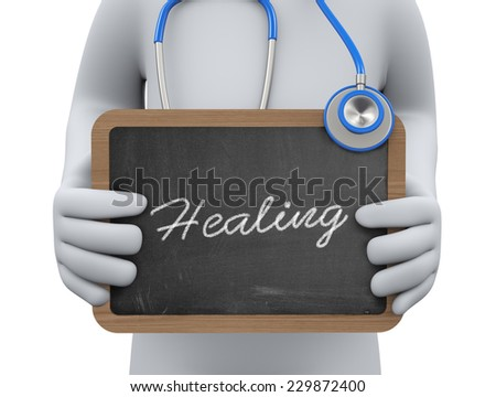 3d illustration physician holding healing chalkboard.  3d rendering of man human people person character. - stock photo