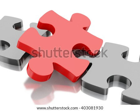3D Illustration. Piece of a puzzle. Business and success concept. Isolated white background. - stock photo