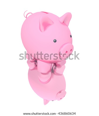 3D Illustration - Piggy bank isolated on white background  - stock photo