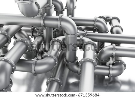3d illustration. Pipe system. Isolated white background