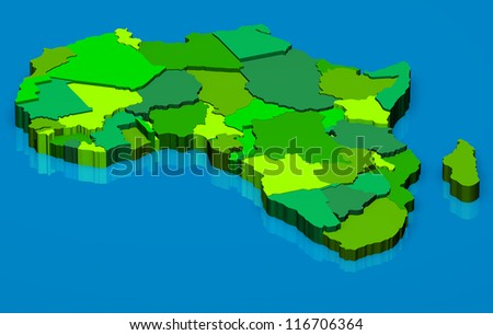 3D illustration political map of Africa continent - stock photo