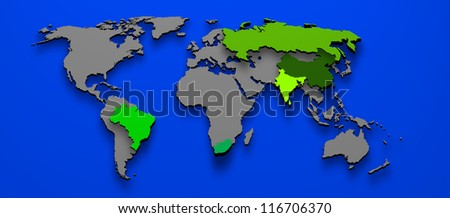 3D illustration political map of BRICS Brazil China Russia India South AFrica - stock photo