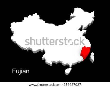 3d illustration province of china,focus on fujian