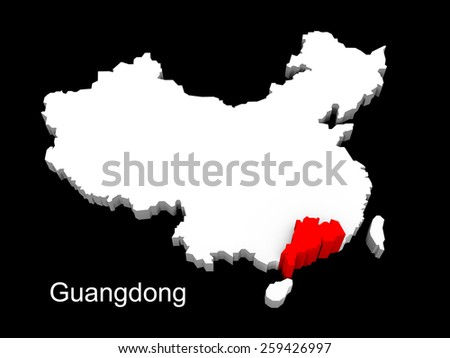 3d illustration province of china,focus on guangdong