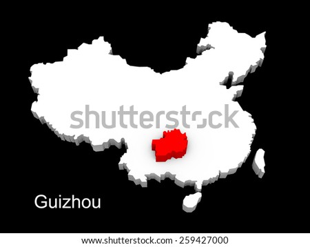 3d illustration province of china,focus on guizhou - stock photo