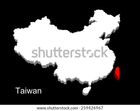 3d illustration province of china,focus on taiwan