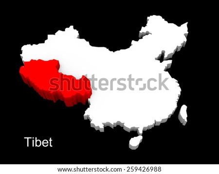 3d illustration province of china,focus on tibet - stock photo