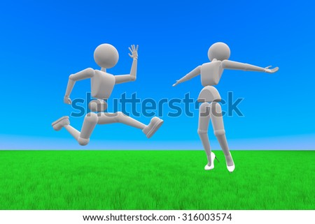 3D illustration. Puppet humans. Couple of young people, high-spirited jumping. Against the background of sky and grass. Copy space - stock photo