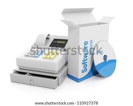 3d illustration: Purchase sale. Cash register and licensed software - stock photo