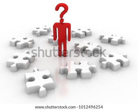 3d illustration Question Mark. small people - complicated