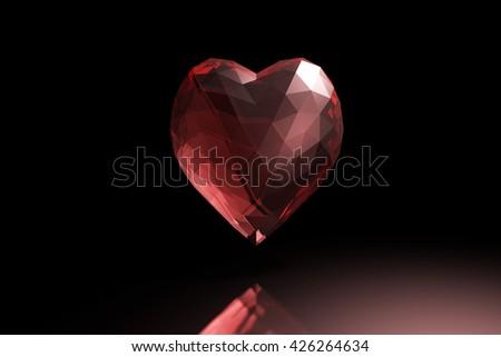3D illustration - Red glass heart  - stock photo