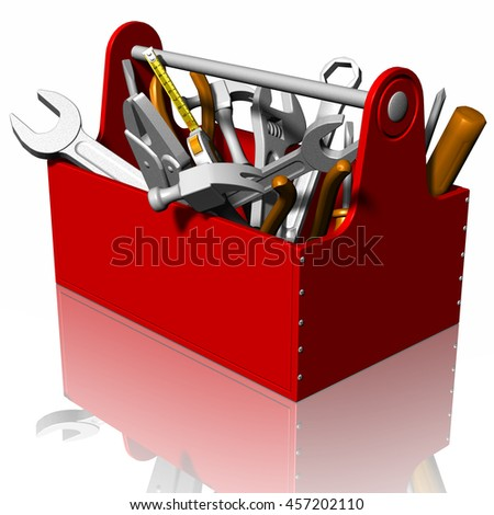 3D illustration. Red Toolbox isolated on white background