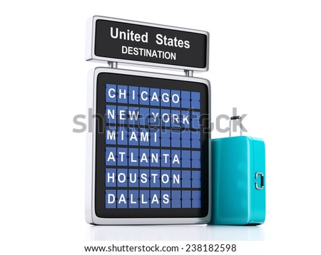3d illustration render. airport board and suitcase. USA travel information on isolated white background - stock photo