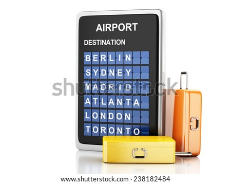 3d illustration render. airport board and travel suitcases on white background - stock photo