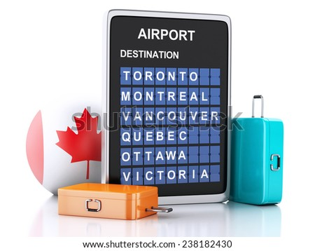 3d illustration render. airport board, Canada departures information and travel suitcases on white background - stock photo