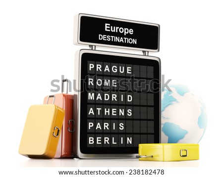 3d illustration render. airport board, europe destination and travel suitcases on white background - stock photo