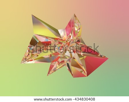 3D illustration rendering abstract glass object - stock photo