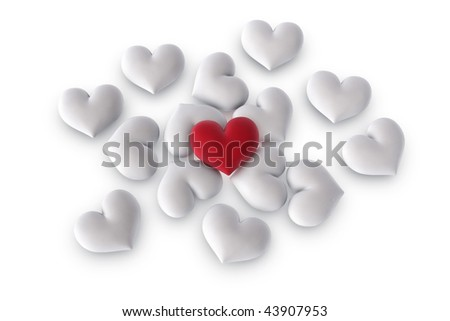 3d illustration/rendering of  one velvety red heart lying on top of several white hearts - stock photo