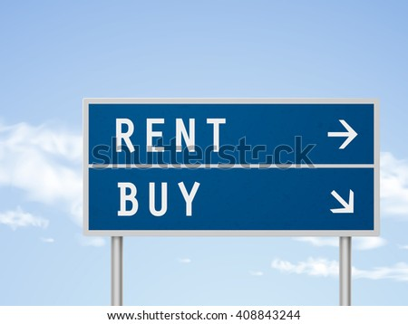 3d illustration road sign with rent and buy isolated on blue sky - stock photo