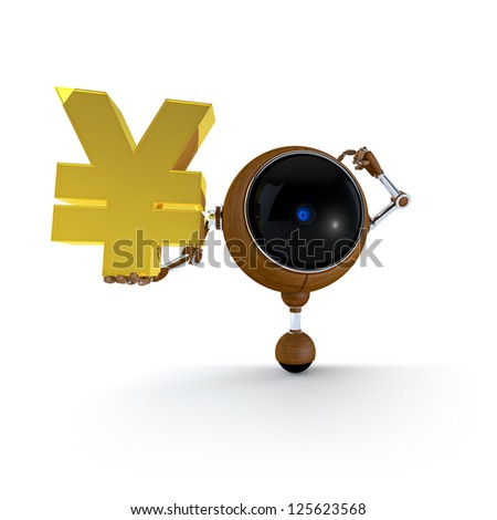 3D Illustration Robot Hold Money Sign in Hand.  Japan Yen Sign. Isolated on Background - stock photo