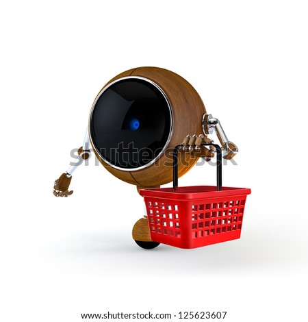 3D Illustration Robot Keep Trolley on Supermarket and Isolated on Background