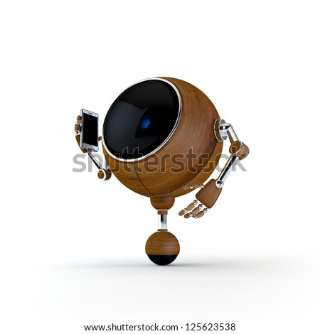 3D Illustration Robot Talking on the Phone Isolated on Background
