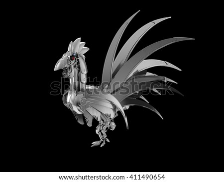 3D illustration. Rooster robot on a black background. The symbol of the new year 2017. Steampunk Illustration. - stock photo